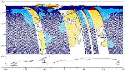 Répartition des modes Glint et Nadir envisagée pour les études de dimensionnement du satellite en phase A